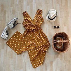 BP. Polka Dot jumpsuit marigold caramel white dots